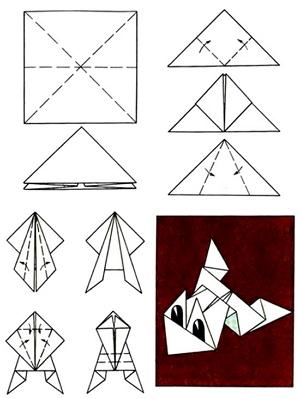 Лягушки из бумаги схема