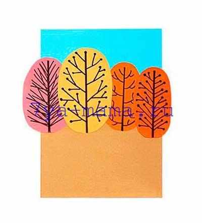 Аппликации осенний лес из бумаги