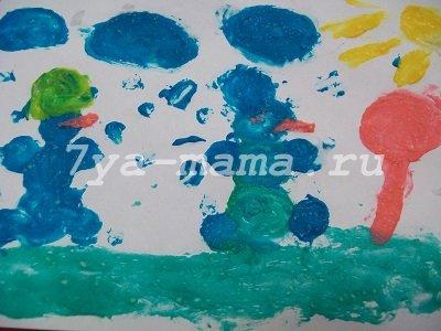 рисунок пальчиковыми  краскамих