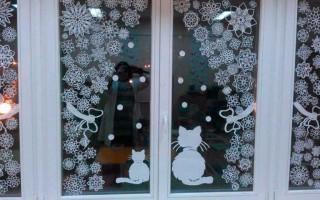 Новогодние трафареты и шаблоны для вырезания на окна формата А4
