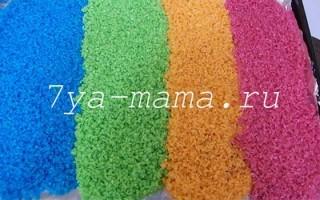 Как покрасить крупу (рис) для поделок и сенсорной коробки